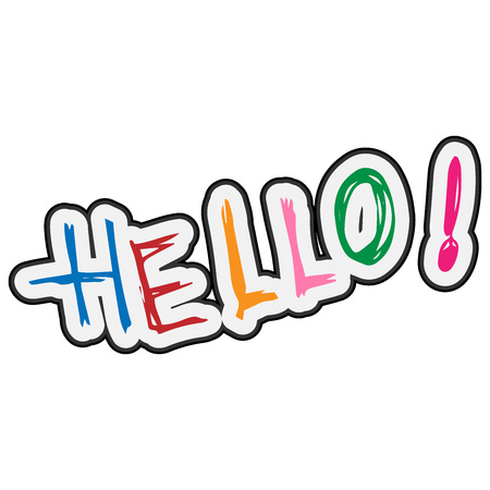 Lettering hello. Vector calligraphy word hello. HELLO handwritten font.