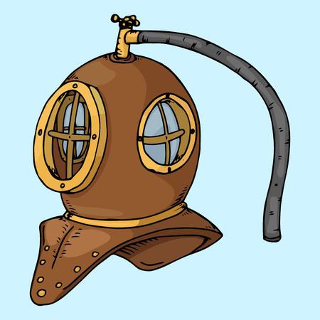 Vintage diving helmet. Diving suit, scuba hand drawn. Vector illustration of vintage scuba diving.