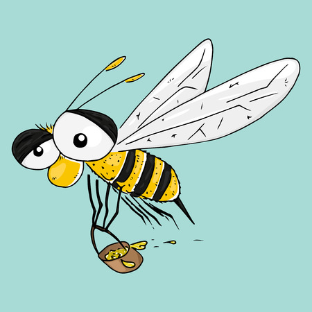 Bee with a bucket for honey hand drawn. Vector illustration of cartoon wasp, bee. Icon wasp with a bucket. 矢量图像