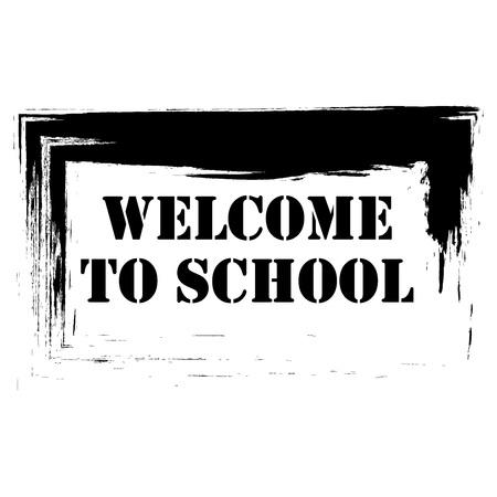 Iscrizioni calligrafiche benvenute a scuola. Iscrizione a pennello in inglese Benvenuti nella scuola. Inizio dello studio in classe di settembre.