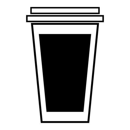 Paper cup icon. Vector illustration of a glass for tea or coffee for fast food. Plastic or paper glass with a coffee or tea. Logo for a paper cup for fast food.