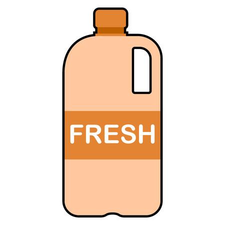 Envases de plástico para leche o zumo. Vector de una botella de plástico para jugo.