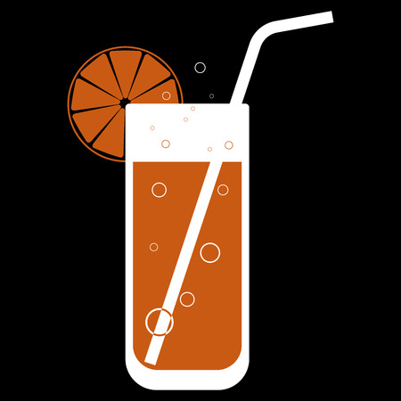 Cocktail with a slice of citrus and straw. Logo of orange juice in a glass. Icon of a glass with juice. Vector illustration of a  glass for cocktails.