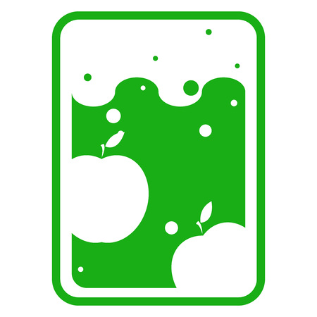 Logo icon of apple. Label apple on a green background.