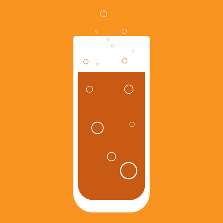 Logo of orange juice in a glass. Icon of a glass with juice. Vector illustration of a  glass for cocktails.