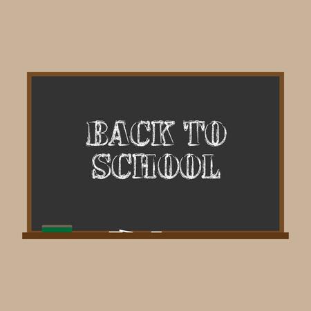 School board with chalk back to school. Vector illustration of an inscription back to school on a school board.