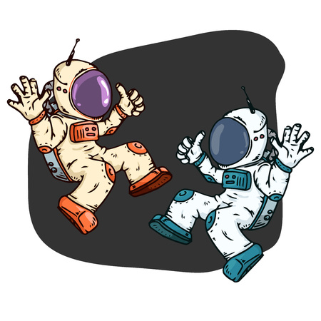 Cosmonaut icon. Vector illustration of a spaceman in a spacesuit. Hand drawn cartoon astronaut in space.