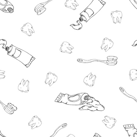 Vector illustration of seamless pattern. Toothpaste, tooth, dental counter. Caring for the health of the mouth. Hand drawing. Vetores