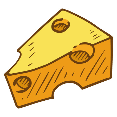 Piece of cheese icon. Vector illustration of cheese. Hand drawn cartoon piece of cheese. 向量圖像