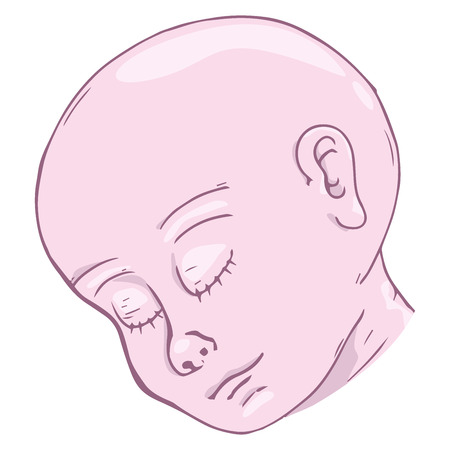 Baby icon. Vector illustration of baby head. Hand drawn babys head.