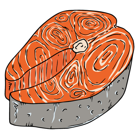 Piece of salmon fish icon. Vector illustration of fish steak. Hand drawn piece of fried trout.