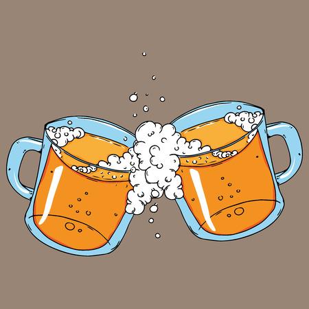 Mug of beer icon. Vector illustration of a frothy beer mug. Hand drawn beer mug.