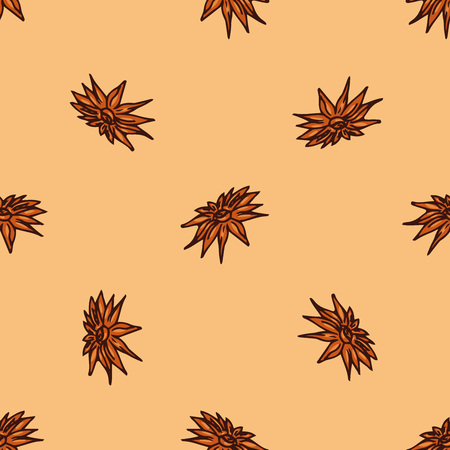 Cinnamon flower icon seamless pattern. Vector illustration of daisy. Hand drawn flower.