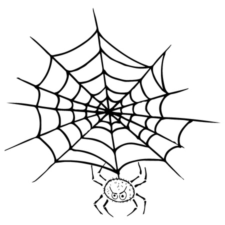 Spider on  web icon. Vector illustration spider web with a spider. Net, web, spider hand drawn.