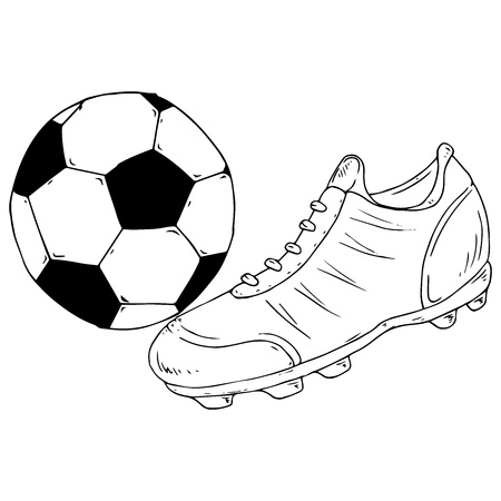 Ball icon. Vector illustration of a soccer ball with a football boot. Hand drawn shoes and ball for playing soccer.
