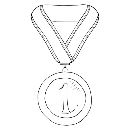 Award medal icon. Vector illustration of a medal for first place on the tape. Hand drawn medal for 1 place on the ribbon. Illustration