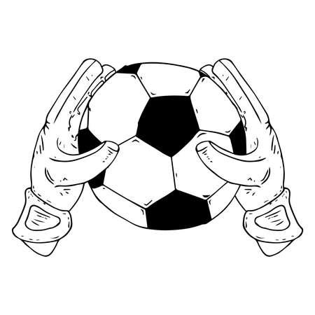 Icono de portero de guante. Ilustración de vector de guante de portero con balón. Guante de portero dibujado a mano con un balón de fútbol.