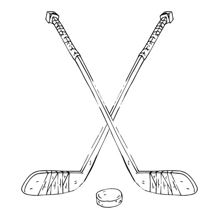 Hockey stick with puck. Vector illustration of crossed hockey sticks. Hand drawn sports equipment hockey stick for playing hockey with a hockey puck. Illustration