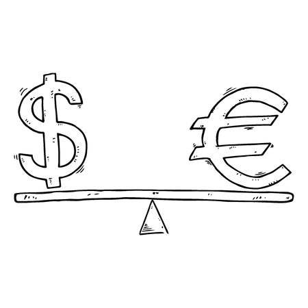 Dollar and Euro icon. Vector illustration of a euro sign and a dollar on the scales. Hand drawn euro and dollar on balanced scales.