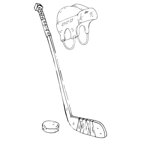 Hockey stick. Vector illustration of hockey stick, hockey puck, hockey helmet. Hand drawn sports equipment hockey stick, hockey puck, helmet. 向量圖像