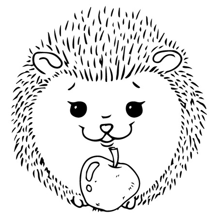 Hedgehog icon. Vector illustration of a cute cartoon hedgehog with an apple. Hand drawn smiling hedgehog.