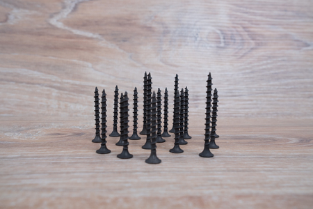Screws studio image. Self-tapping screw. Tool screws on a wooden background.