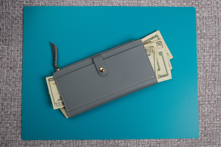 Womens leather wallet studio image. Gray womens wallet with banknotes. Dollar bills. Dollars in a wallet.