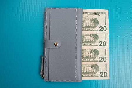 Womens leather wallet studio image. Gray womens wallet with banknotes. Dollar bills. Stock Photo