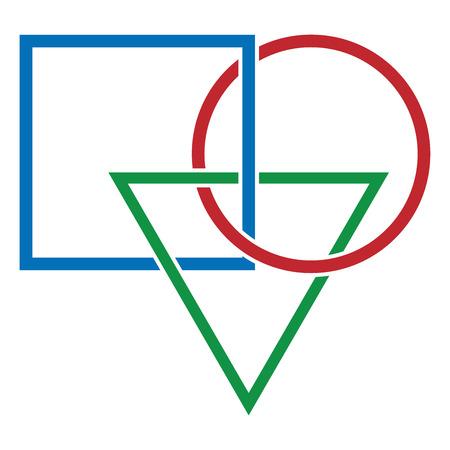 Vector illustration of geometric shapes. Logo basketball of geometric shapes.  イラスト・ベクター素材