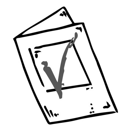 Voting ballot, form, questionnaire icon. Vector illustration of ballot paper. Hand drawn form with a check mark, document. 일러스트