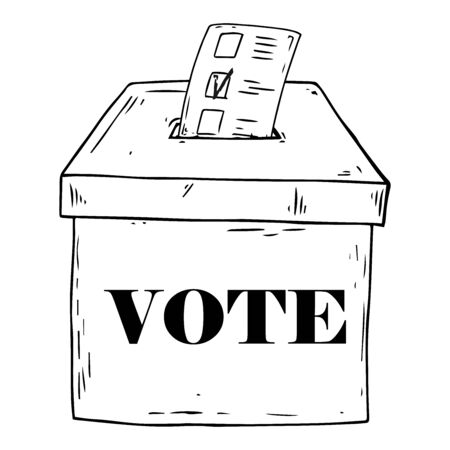 Ballot box. Vector illustration box for vote. Ballot box for voting in elections hand drawn. Voting ballot with a check mark, form, list icon.