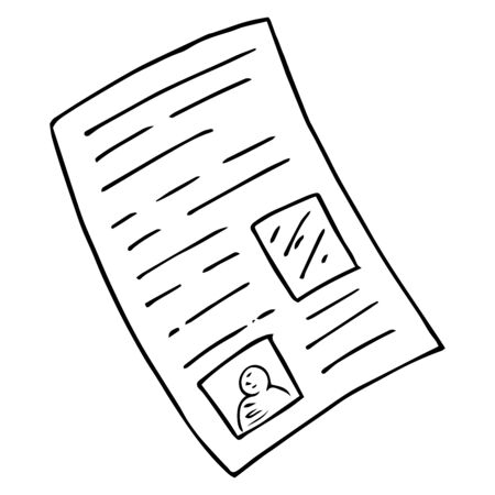 Document, form, sheet of paper with text, icon. Vector illustration letter, test, application form. Examination sheet, check hand drawn.