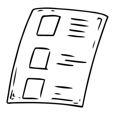 Voting ballot, form, list icon. Vector illustration of ballot paper. Blank, document, sheet of paper with text.