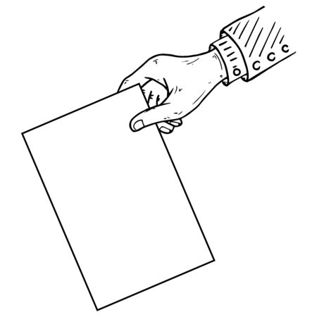 Hand is holding a blank sheet of paper icon. Vector illustration of a mans hand holding blank paper. Hand drawn blank paper in hand.