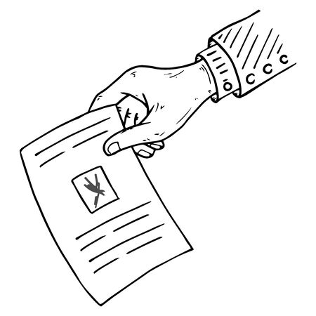 Voting ballot, form, list icon. Vector illustration of ballot paper in hand. Wrist. A hand holds a blank with a cross mark, document, sheet of paper with text. A hand with a sleeve.