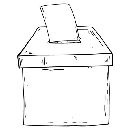 Ballot box icon. Vector illustration of a ballot box. Ballot box elections hand drawn.
