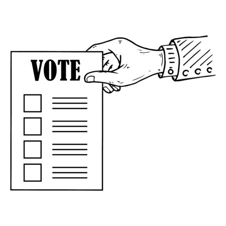 Voting ballot, form, list icon. Vector illustration of ballot paper in hand. Wrist. A hand holds a blank, document, sheet of paper with text. A hand with a sleeve.