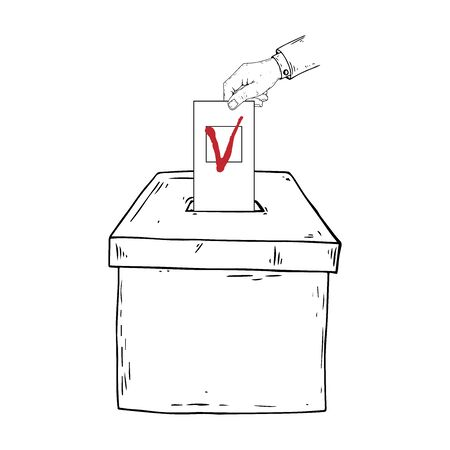 Ballot box. Vector illustration box for vote. Ballot box for voting in elections hand drawn. Wrist. A hand holds a voting ballot with a check mark, form, list icon.