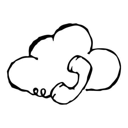 Telephone receiver with a wire on a background of a cloud. Retro handset phone. Call center. Vector illustration. Simple hand drawing icon.