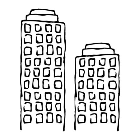 Building. Skyscraper. Bank building, business center. House with windows. City building. Apartment house. Vector illustration. Simple hand drawing icon.