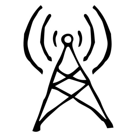 Radio tower with waves of signals. Wireless data transfer. Vector illustration. Simple hand drawing icon.