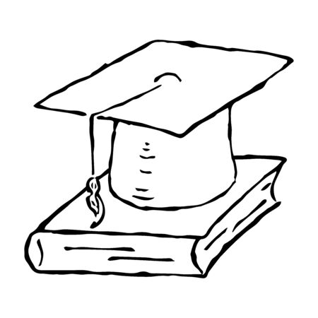 Square academic hat with a tassel on the book. Graduation. Vector illustration. Simple hand drawing icon.