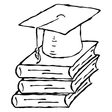Square academic hat with a tassel on a stack of books. Graduation. Vector illustration. Simple hand drawing icon.