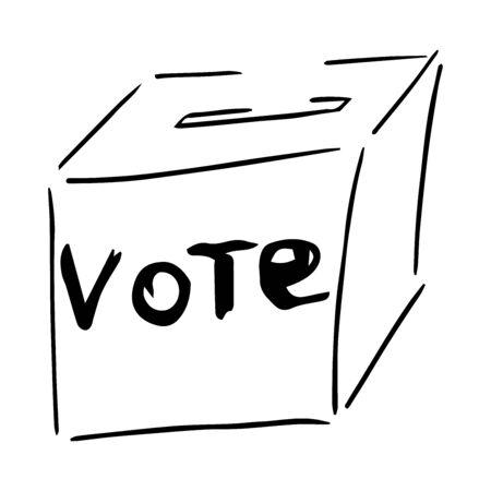 Ballot box icon. Vector illustration of a ballot box with a vote inscription. Ballot box elections hand drawn. 일러스트