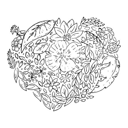 Heart made of plants. Bouquet of flowers in the shape of a heart. Heart of flowers and leaves of different plants. Vector illustration. Simple hand drawn icon. Иллюстрация