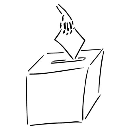 Ballot box. Vector illustration box for vote. Ballot box for voting in elections hand drawn. Wrist. Hand holds a voting ballot, form, list icon. 일러스트