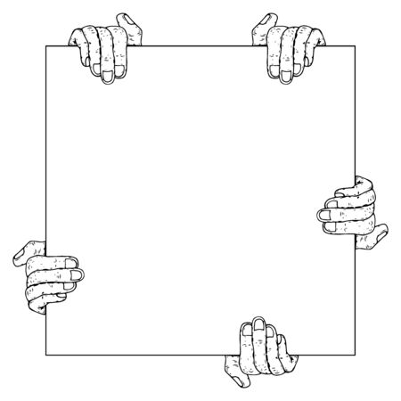 Many hands is holding a blank sheet of paper icon. Vector illustration of a mans hands holding blank paper. Hand drawn blank paper in hands.