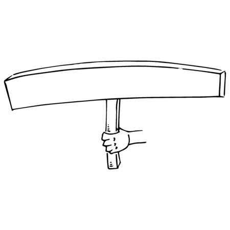 Hand holds a blank banner. A long banner without text. Banner on a wooden hilt. Vector illustration. Simple hand drawn icon. Illustration