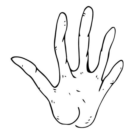 Human wrist with open palm. Open hand. Five fingers on the hand. HELLO sign with hand. Vector illustration. Simple hand drawn icon. Illustration