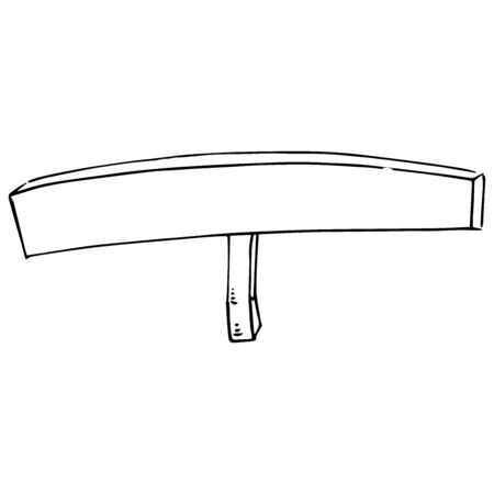 Empty banner. Long banner without text. Banner on a wooden handle. Vector illustration. Simple hand drawn icon.